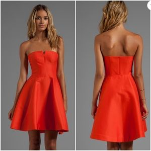 Strapless Structured Dress With Flare Skirt